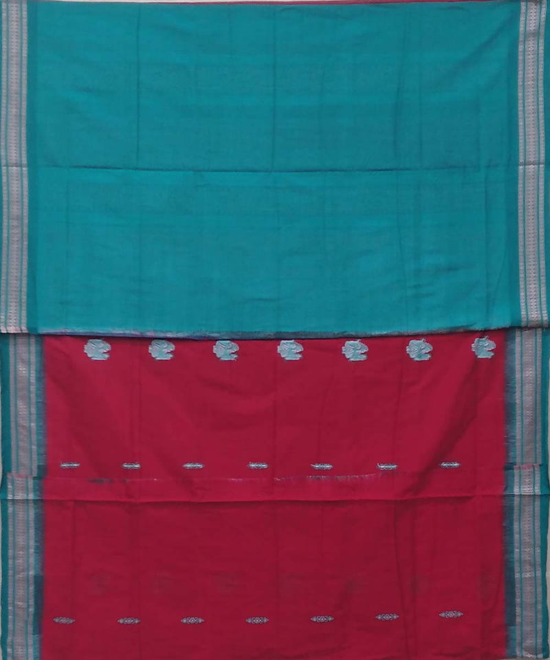 Red handwoven bomkai cotton saree