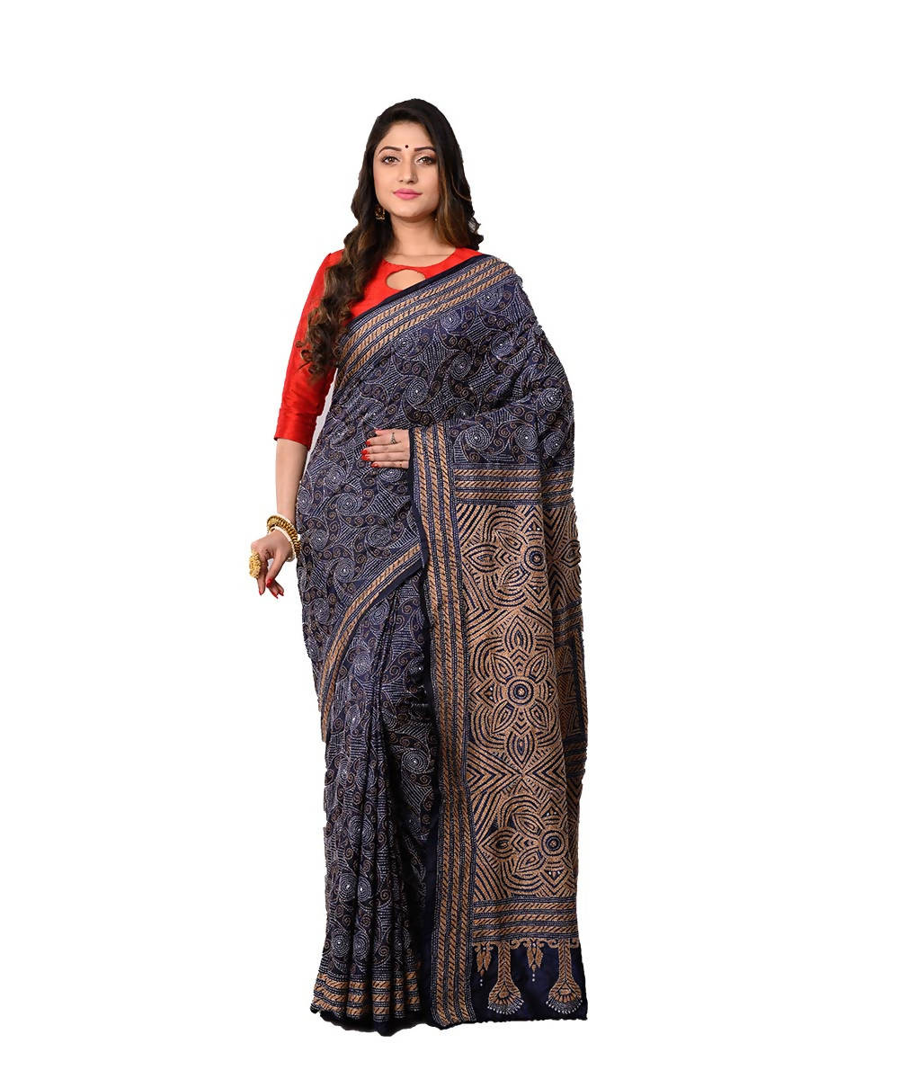 Bengal Handloom Dark Grey Kantha Stitch Saree
