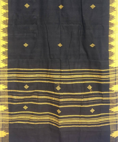 Black yellow Natural Dye Handloom Kotpad Cotton Stole