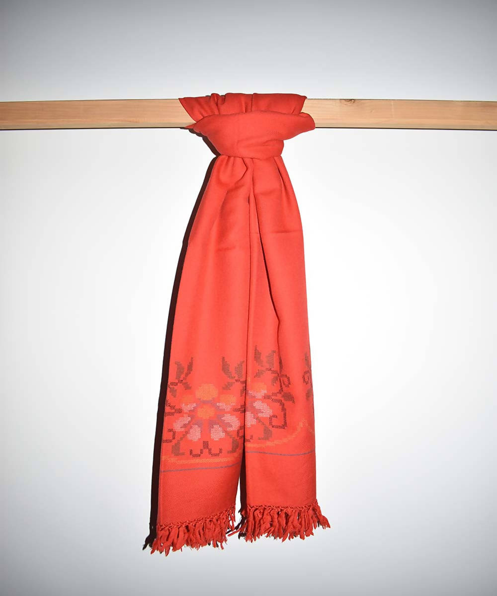 Orange handloom merino woolen shawl