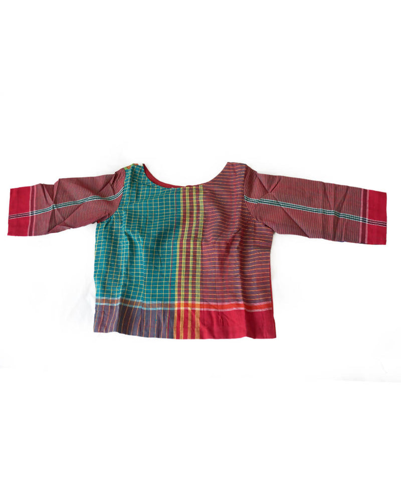 Multicolor Handwoven Gamcha Checks Cotton Crop Top Blouse