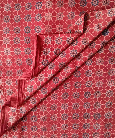 Red natural dye ajrakh block print handspun handwoven cotton fabric