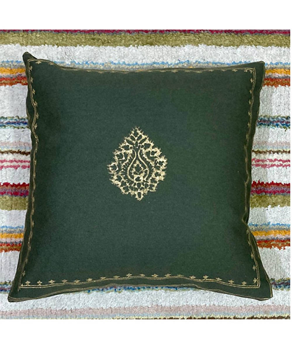 Dark forest green handblock print with hand embroidery cushion cover