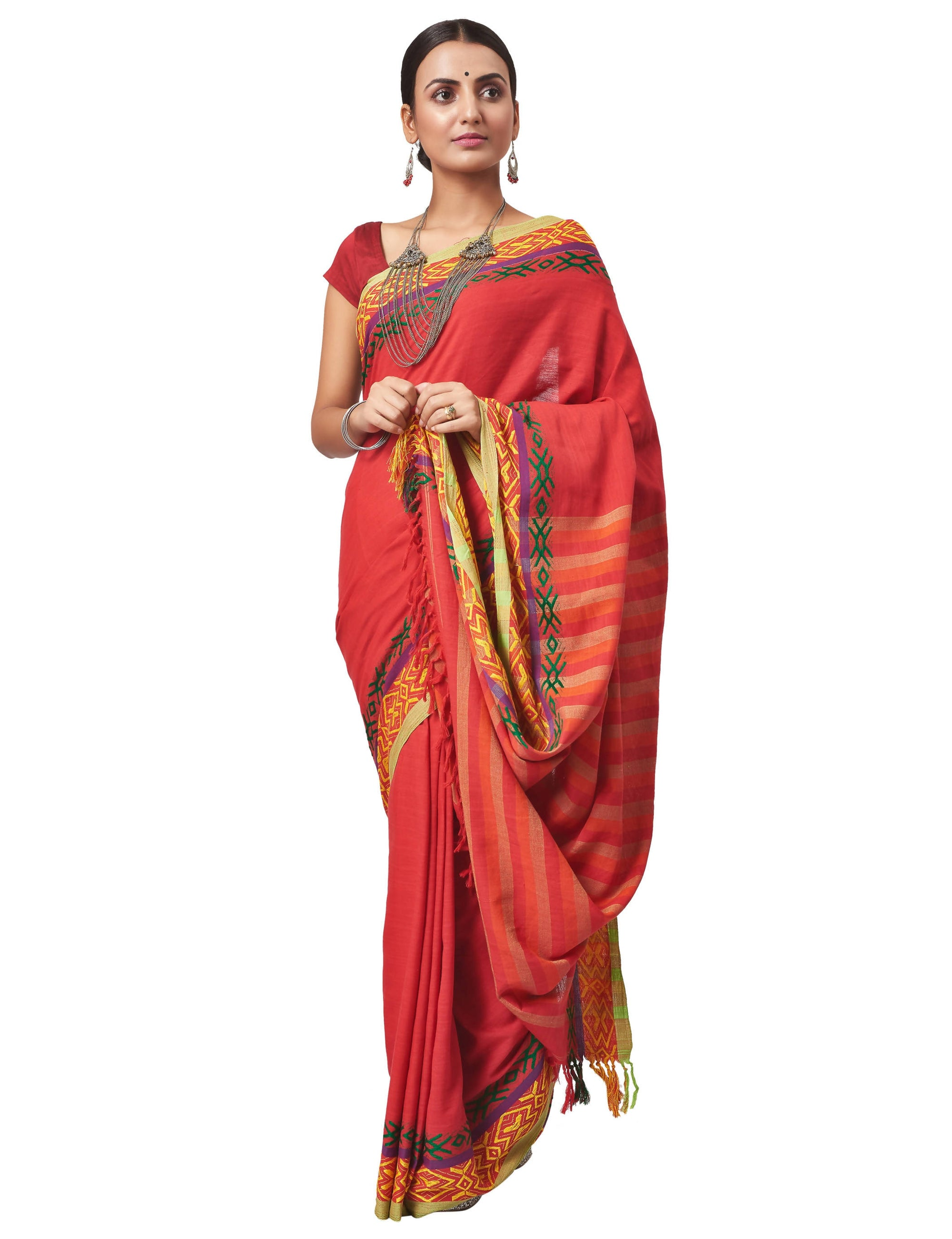Biswa Bangla Handloom Dokhna Cotton Saree - Red