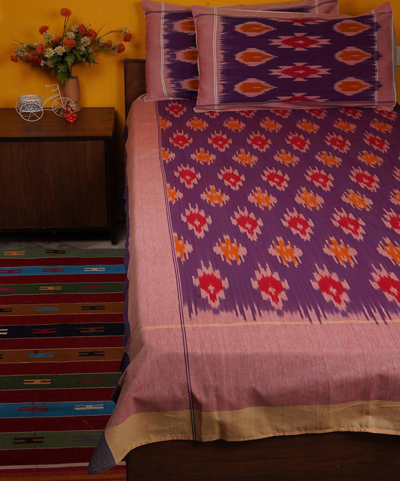 Purple Handloom Pochampally Ikkat Cotton Bedsheet