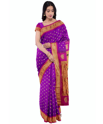 handwoven Purple paithani silk saree
