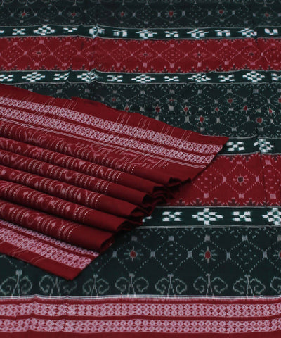 Sambalpuri Cotton Green Maroon Handloom Saree
