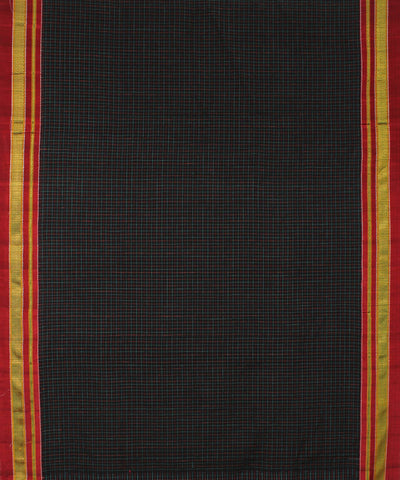 Black Multicolor Checks Ilkal Handloom Saree