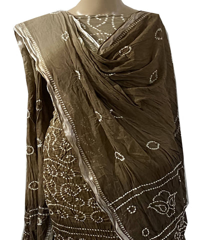 Brown bandhej cotton unstitched dress material
