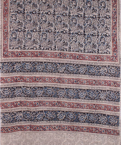 Grey Hand Block Print Kalamkari Cotton Saree