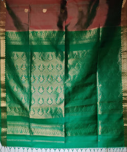 green brown double shade zari butta work handloom silk saree