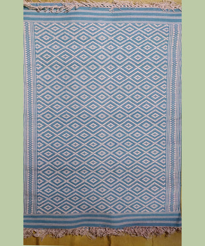 White and blue jacquard handwoven interlock warangal dhurrie