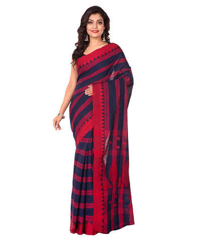 Navy Blue Stripe Bengal Handloom Cotton Saree