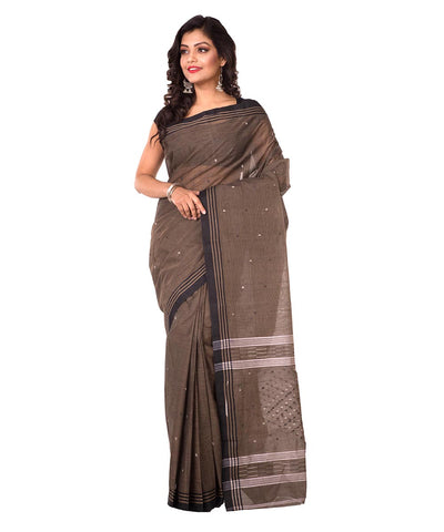 Grey Brown Bengal Handloom Cotton Saree