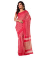 Bengal Handloom Red Gamcha Check Cotton Saree