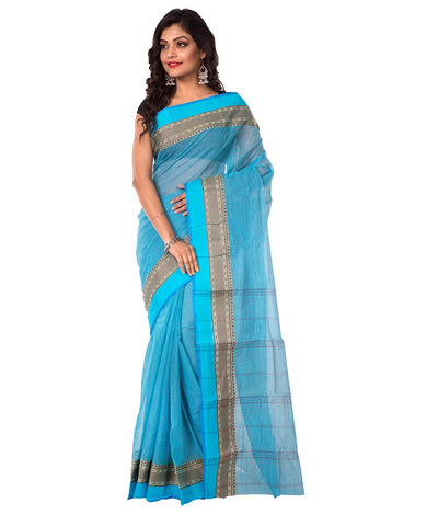 Sky Blue Bengal Handloom Tant Cotton Saree