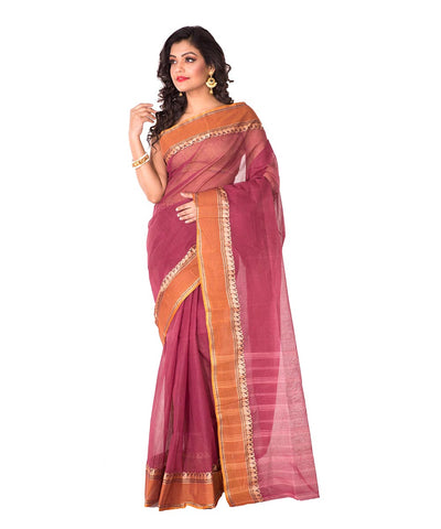 Bengal Handloom Mauve Tant Cotton Saree