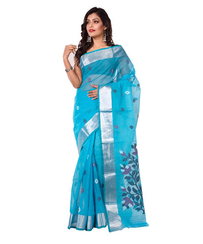 Bengal Handloom Blue Jamdani Cotton Saree