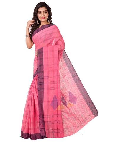 Handloom Pink Bengal Cotton Saree