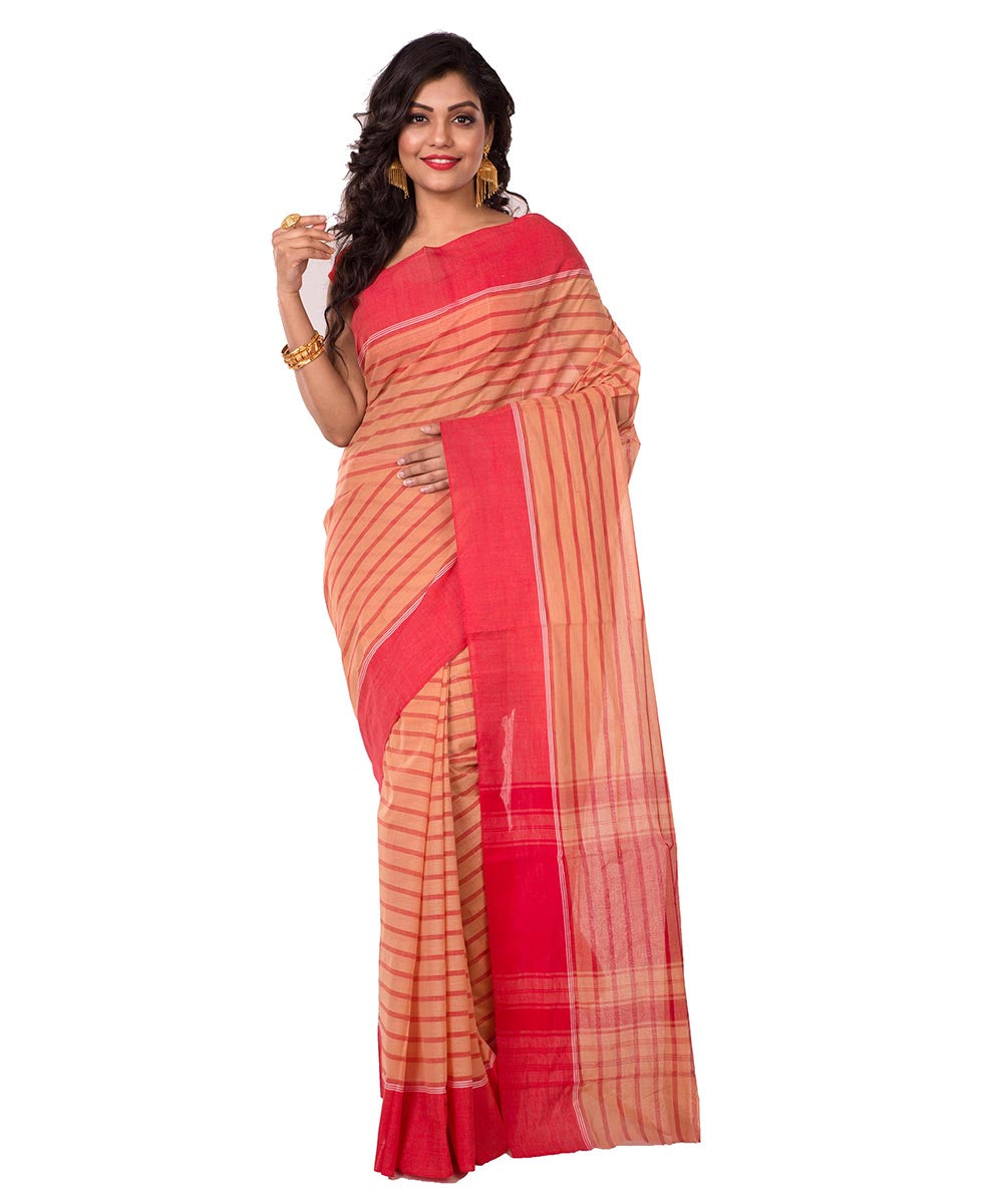 Bengal Handloom Red Beige Cotton Saree