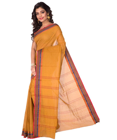 Mustard Bengal Handloom Tant Cotton Saree