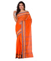 Handloom Orange Bengal Tant Cotton Saree