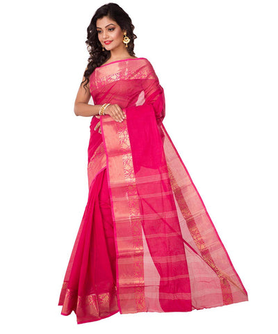 Pink Handloom Bengal Tant Cotton Saree