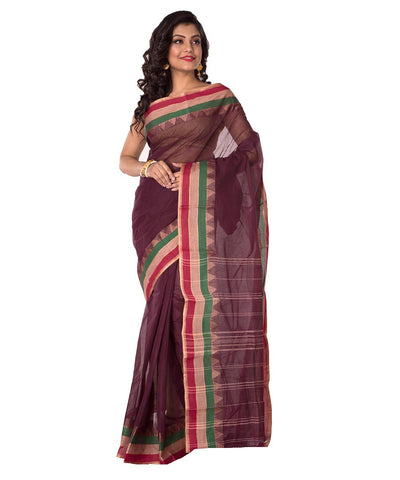 Dark Brown Handloom Tant Cotton Saree
