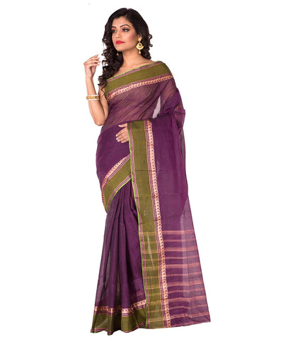 Purple Handloom Bengal Tant Cotton Saree