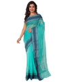 Bengal Handloom Blue Green Tant Cotton Saree