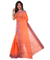 Orange Handloom Bengal Cotton Tant Saree