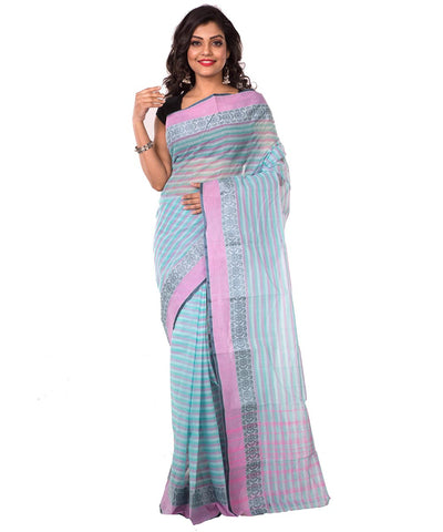 Blue Grey Bengal Handloom Tant Cotton Saree