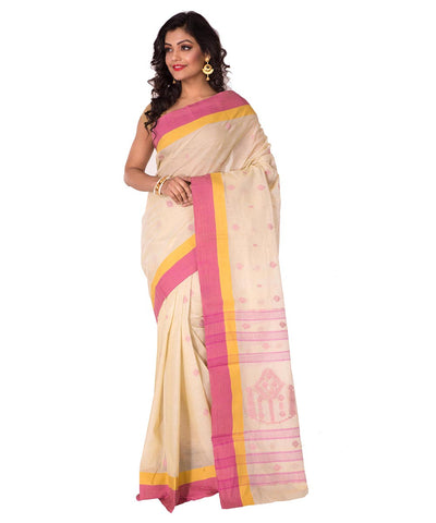 Off White Tant Cotton Bengal Handloom Saree