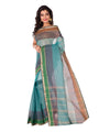 Green Blue Tant Cotton Bengal Handloom Saree