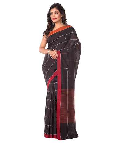 Black and Red Handloom Bengal Cotton Saree