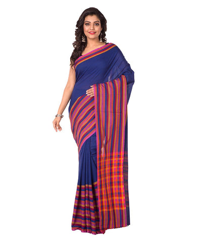 Bengal Handloom Navy Blue Stripe Cotton Saree