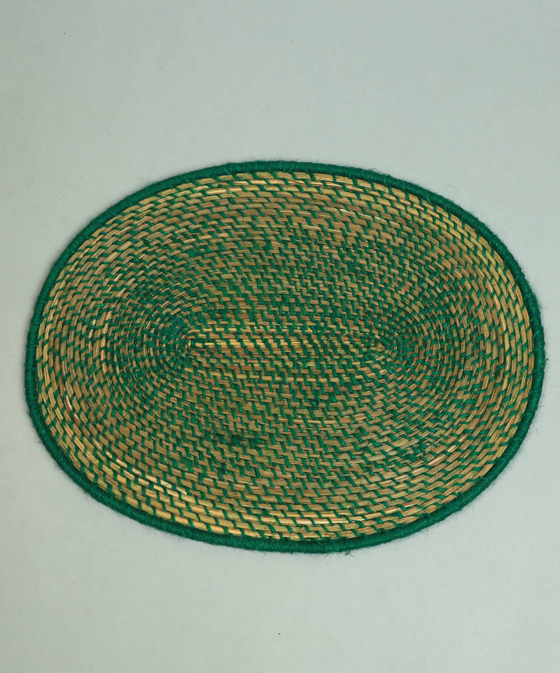 Natural beige and green handcrafted golden grass oval dining mat