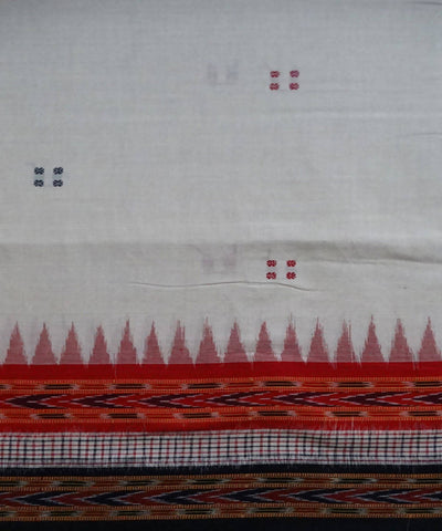 Off White Nuapatna cotton Handwoven Saree