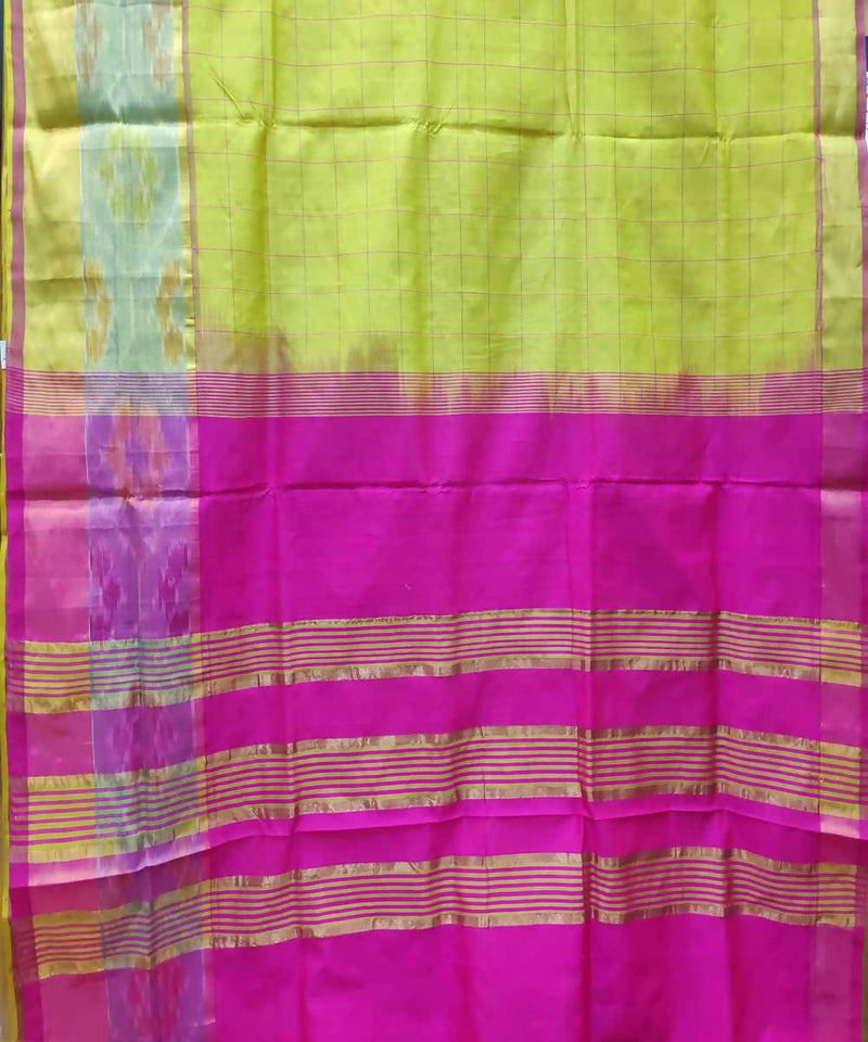 light green Handwoven Venkatagiri Cotton silk saree