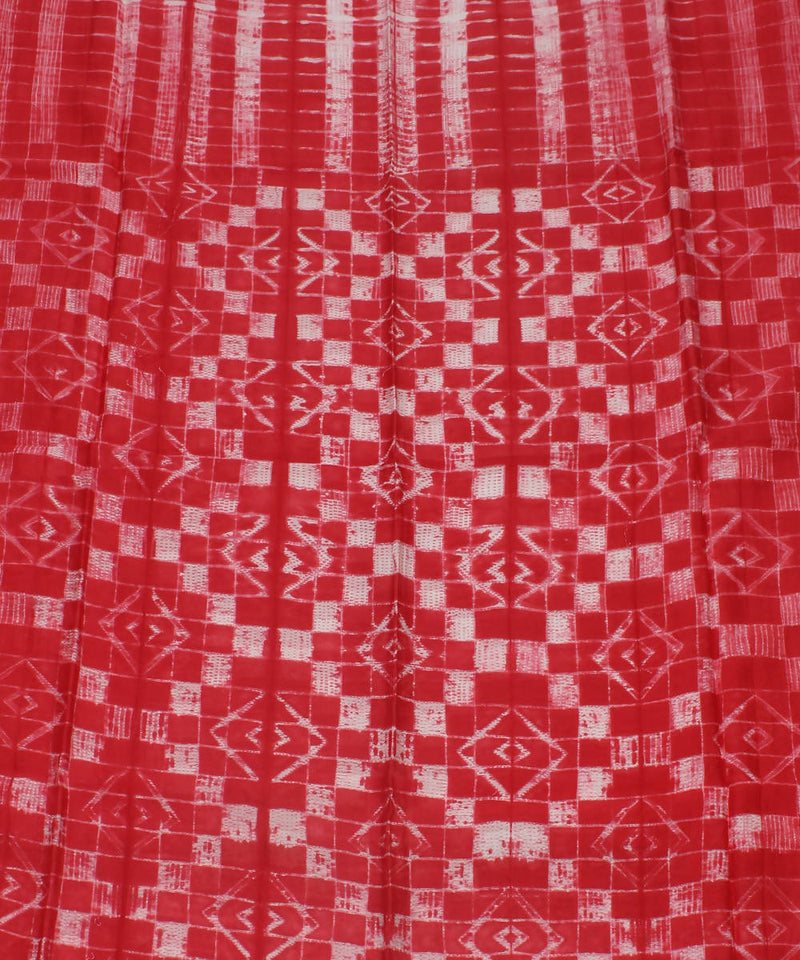 shibori red white chanderi kurta fabric