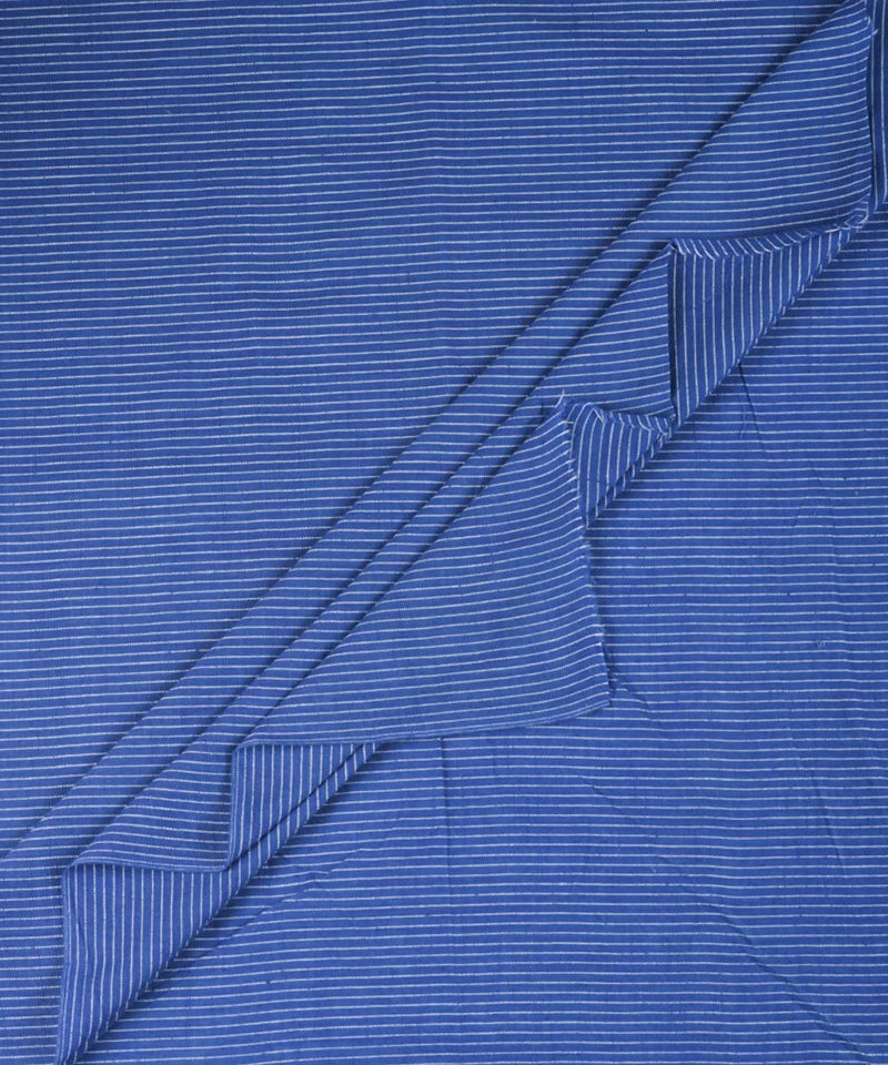 Blue white handwoven cotton fabric