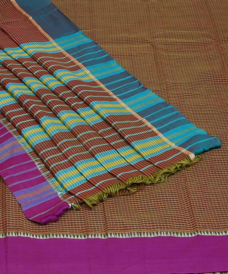 Brown Handloom Narayanpet Cotton Saree