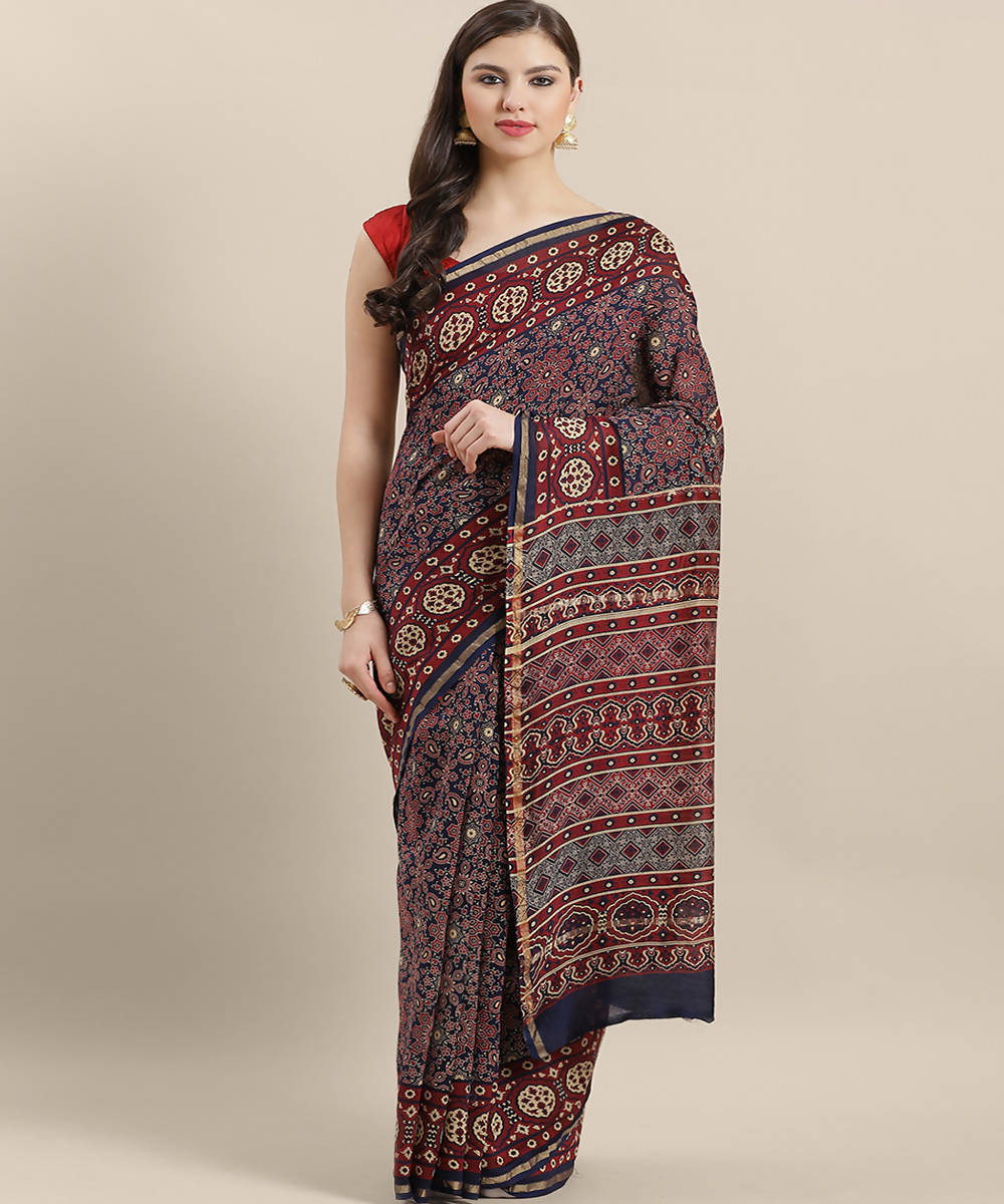 Navy Blue Red Handblock Print Chanderi Saree