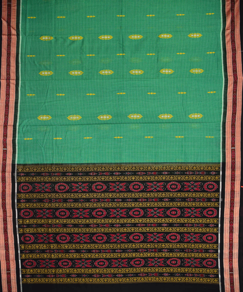 Green handwoven bomkai cotton saree