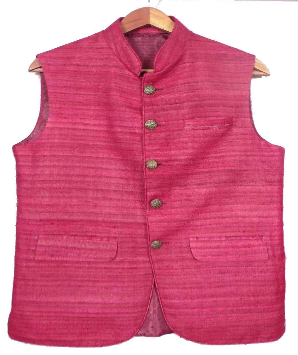 Pink Handwoven Sleeveless Tussar Jacket