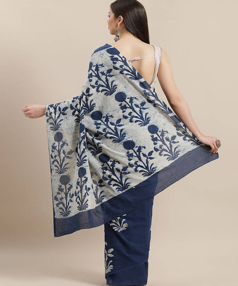 Indigo Blue Hand Batik Print Cotton Saree