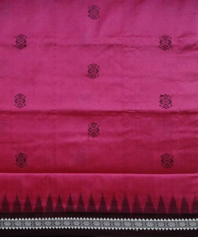 Dark Pink Bomkai Handwoven Silk Saree