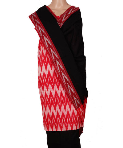 Handloom Red Black Ikkat Cotton Suit Set