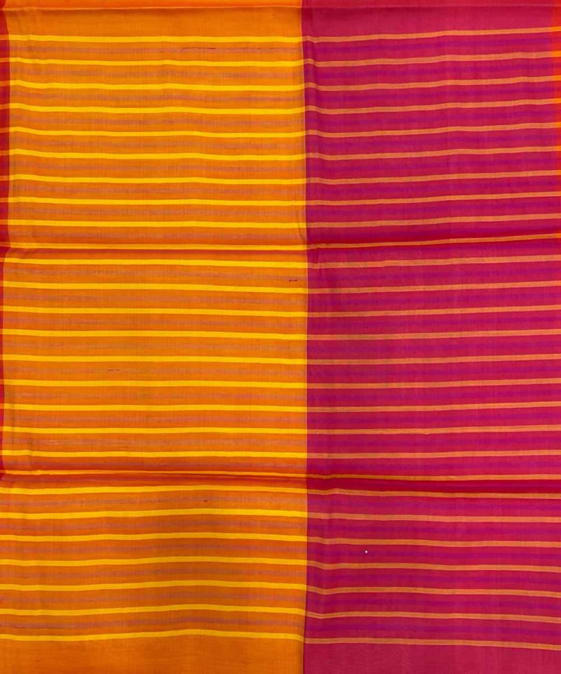 Maroon fire yellow handwoven striped tussar silk saree