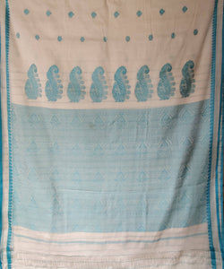 white handloom cyan butta work cotton saree